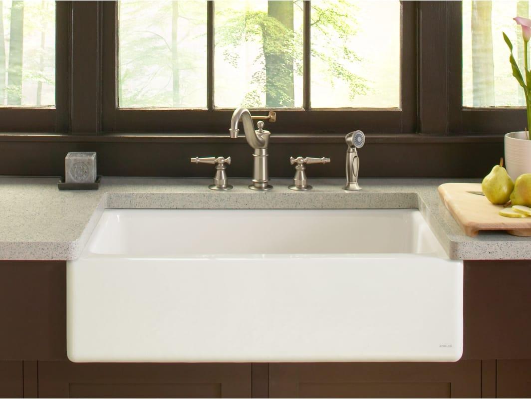White cast iron apron sink -  Kohler K 6546 4u Alternate View Front