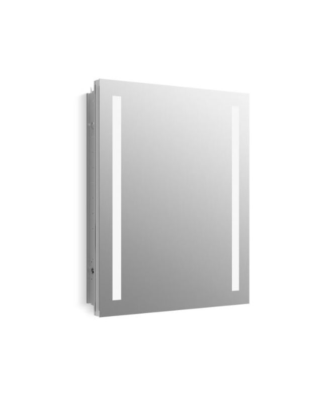 Kohler K 99007 Tl Na Mirrored Verdera 24 Quot W X 30 Quot H Single Door Frameless Medicine Cabinet With Plain Mirror And Lights Built In Outlets And