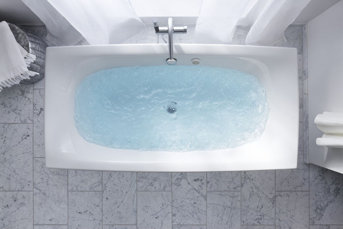 Bathtub Won T Drain Standing Water: K-14037-G-0 In White By Kohler