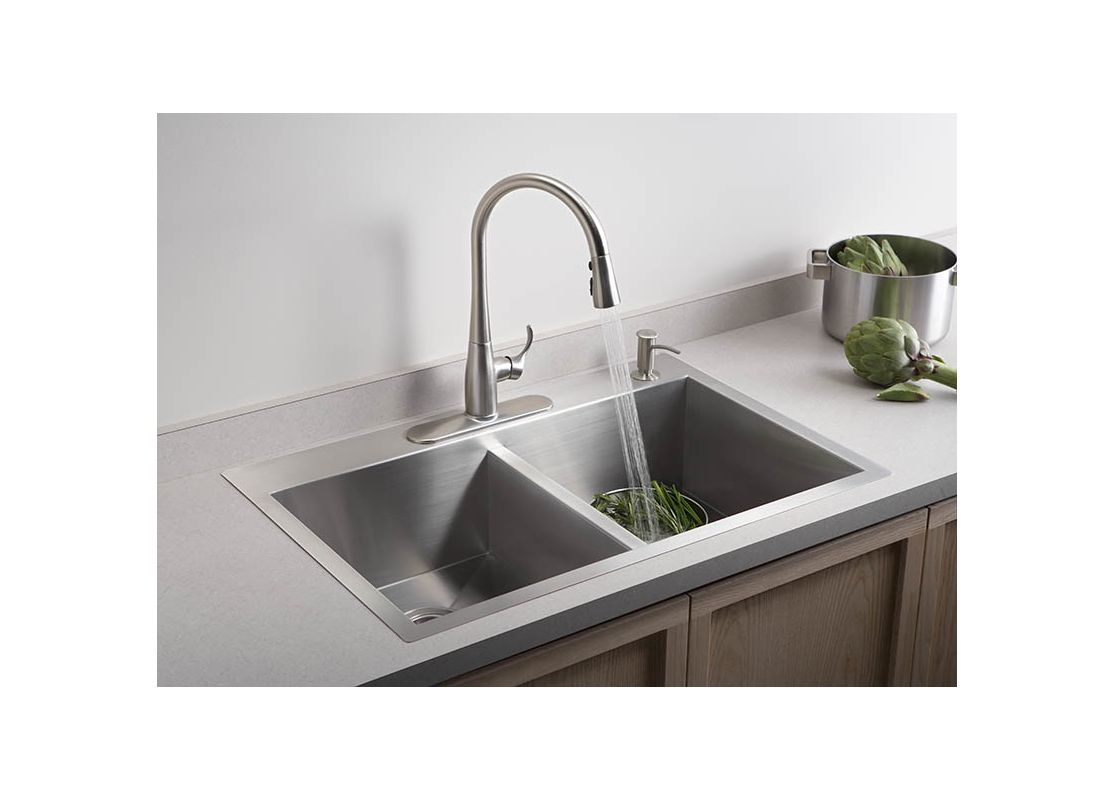 single or double kitchen sink faucet k 596 cp in polished chrome by kohler 7963