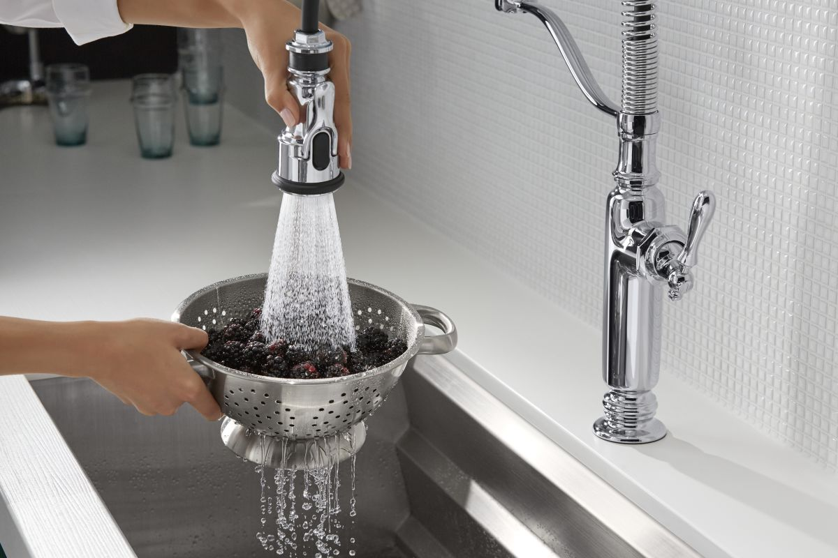 Polished Nickel Kitchen Faucet Faucetcom K 77515 Sn In Vibrant Polished Nickel By Kohler