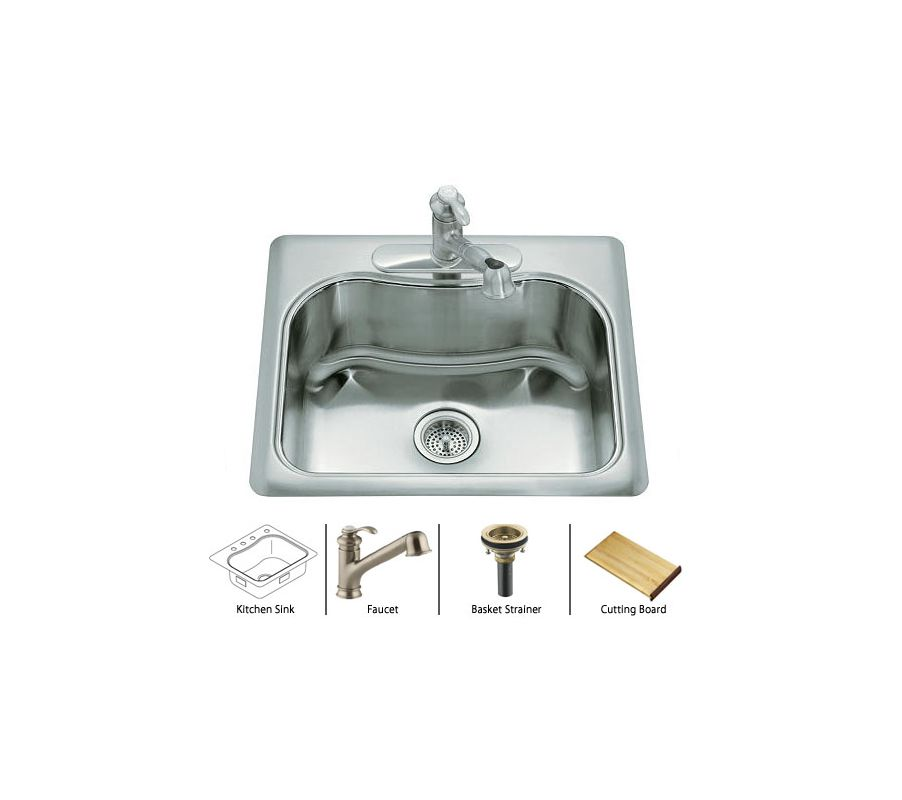 kitchen sink package faucet staccato k 3362 1 package bv in stainless 2809