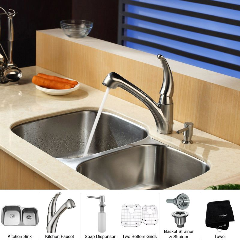 Kbu24 kpf2110 sd20 in stainless steel by kraus for Faucet and soap dispenser placement