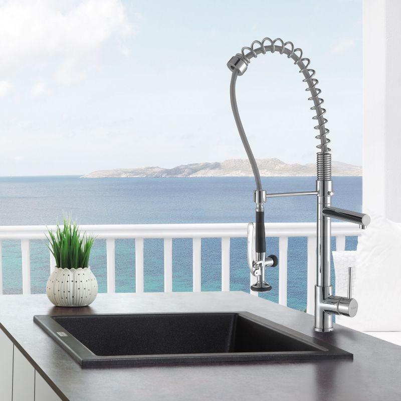 granite single basin sink faucetcom kgd 410b in black onyx by kraus