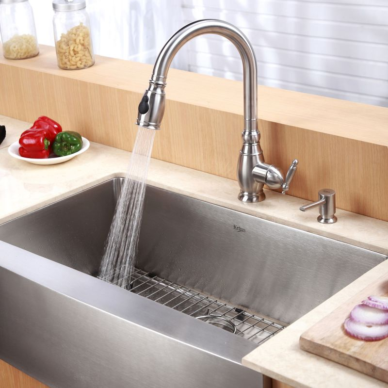 Kitchen Faucets For Farm Sinks | Faucet Com Khf200 30 In Stainless Steel By Kraus