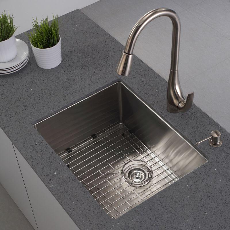 Undermount Kitchen Sink With Drainer faucet | khu101-23 in stainless steelkraus