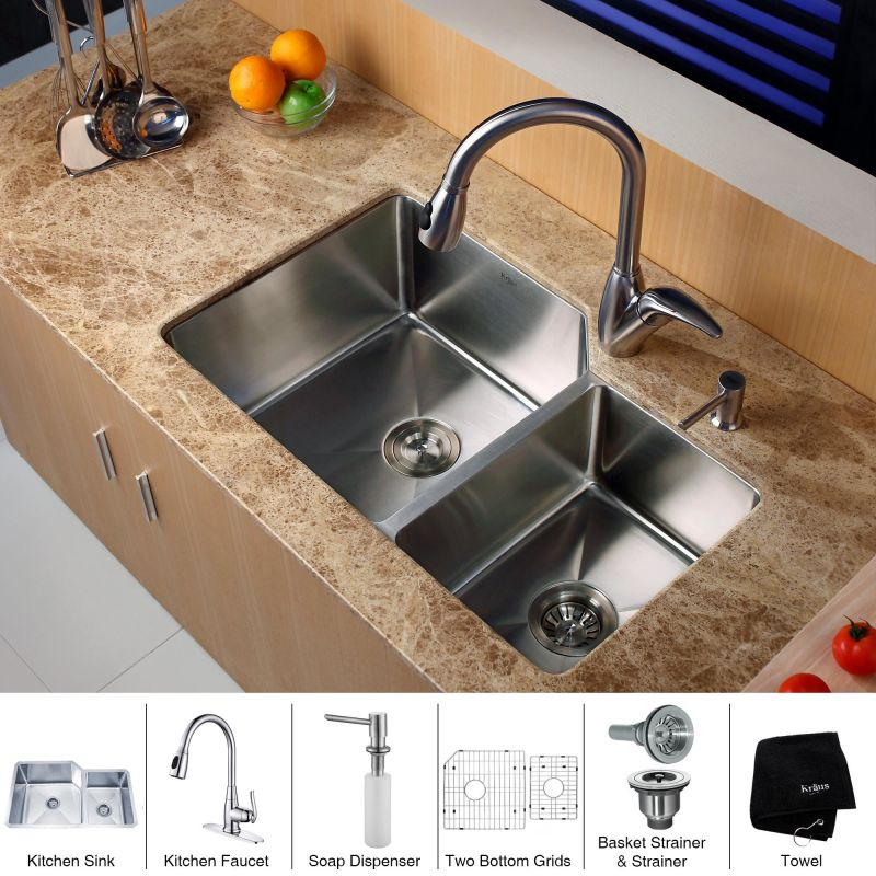 Faucet Com Khu123 32 Kpf2120 Sd20 In Stainless Steel By Kraus