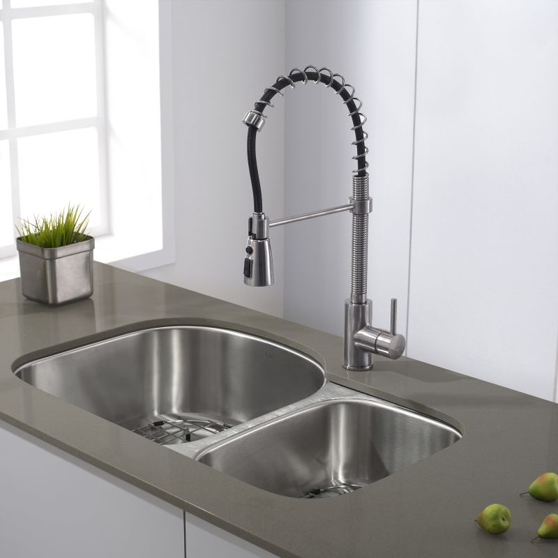 Kraus Commercial Pre-Rinse Chrome Kitchen Faucet | Faucet Com Kpf 1612ss In Stainless Steel By Kraus