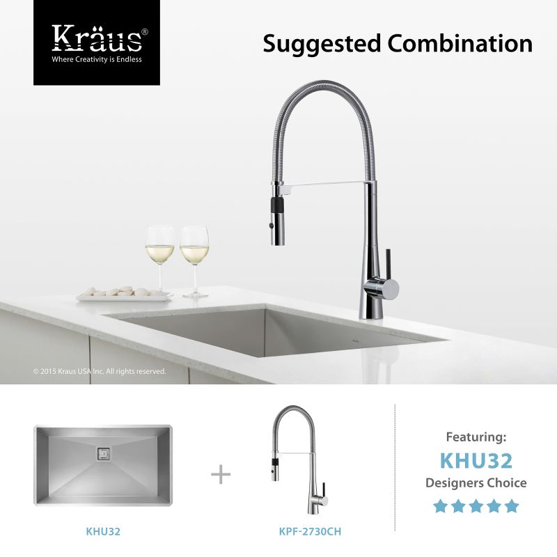 Kraus Commercial Faucet : Kraus KPF-2730SS Stainless Steel Crespo Single Lever Commercial Style ...