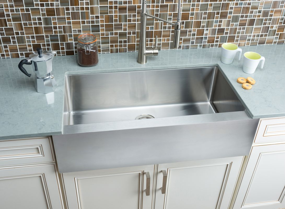 kitchens with stainless steel farm sinks misseno