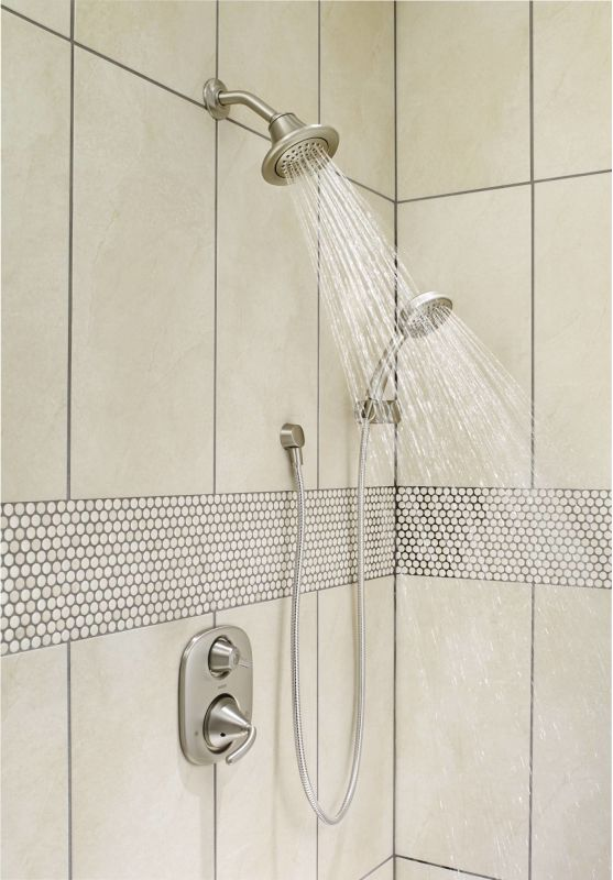 running shower system in brushed nickel