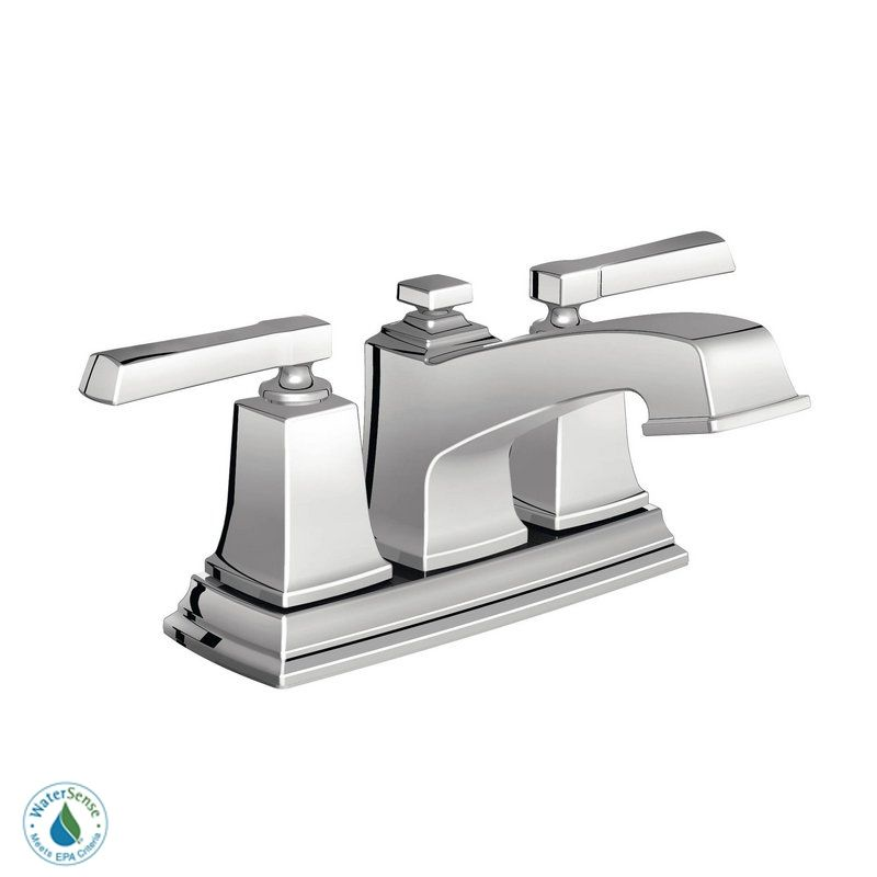 Moen 84800 Chrome Double Handle Centerset Bathroom Faucet From The Boardwalk Collection Valve