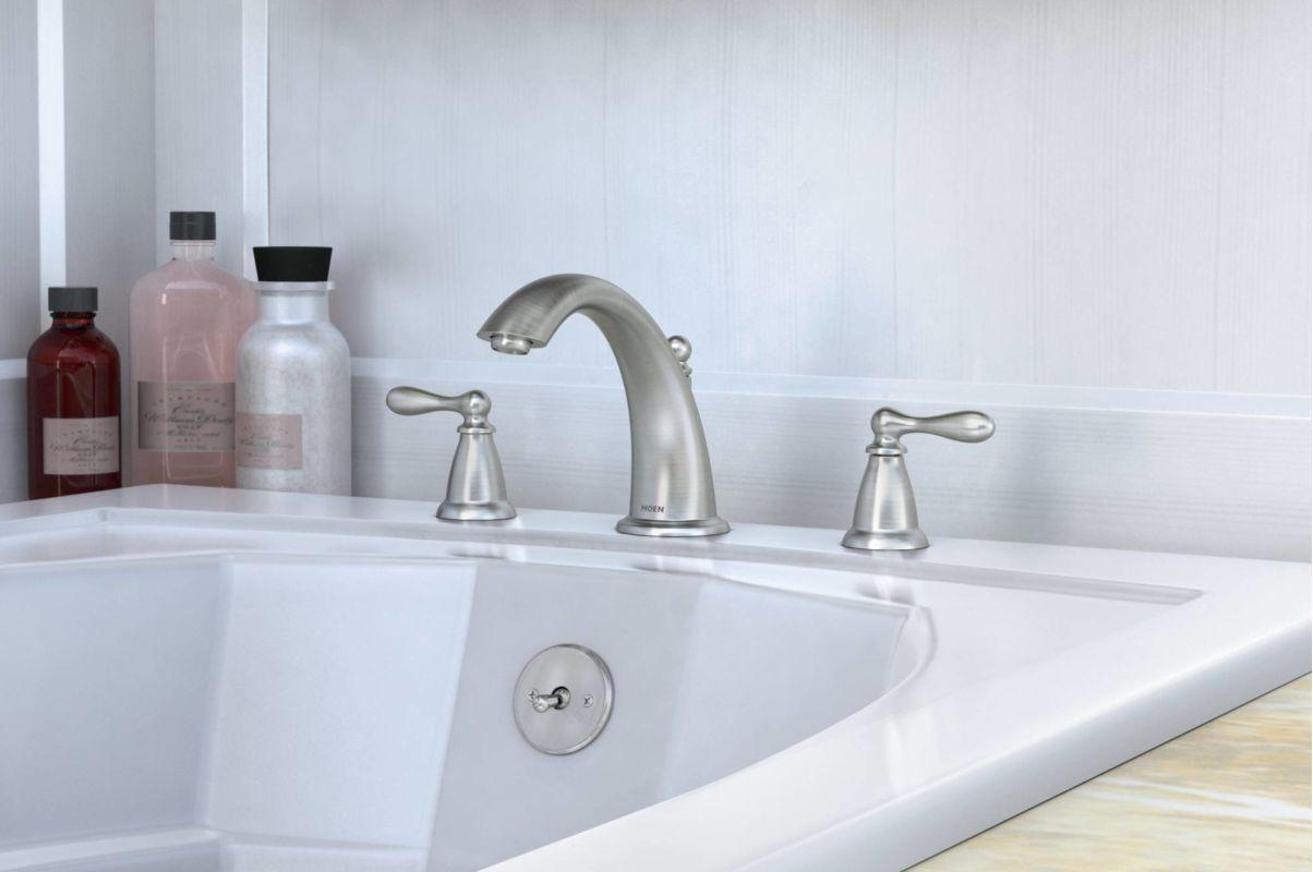 moen roman tub faucet brushed nickel.  Moen 86440 Installed Roman Tub Faucet in Spot Resist Brushed Nickel com Chrome by