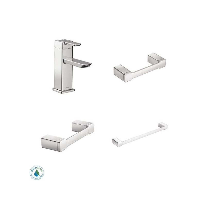 90 degree faucet and accessory bundle 1ch in chrome by moen for Moen 90 degree bathroom faucet