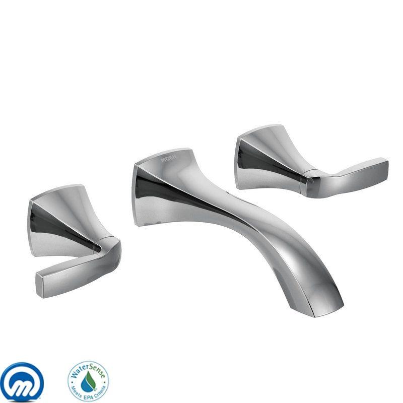 Moen T6906 Chrome Double Handle Wall Mount Bathroom Faucet