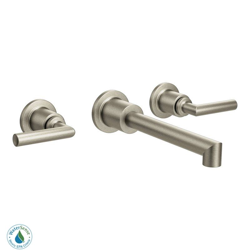 moen ts43003bn brushed nickel wall mounted widespread bathroom faucet