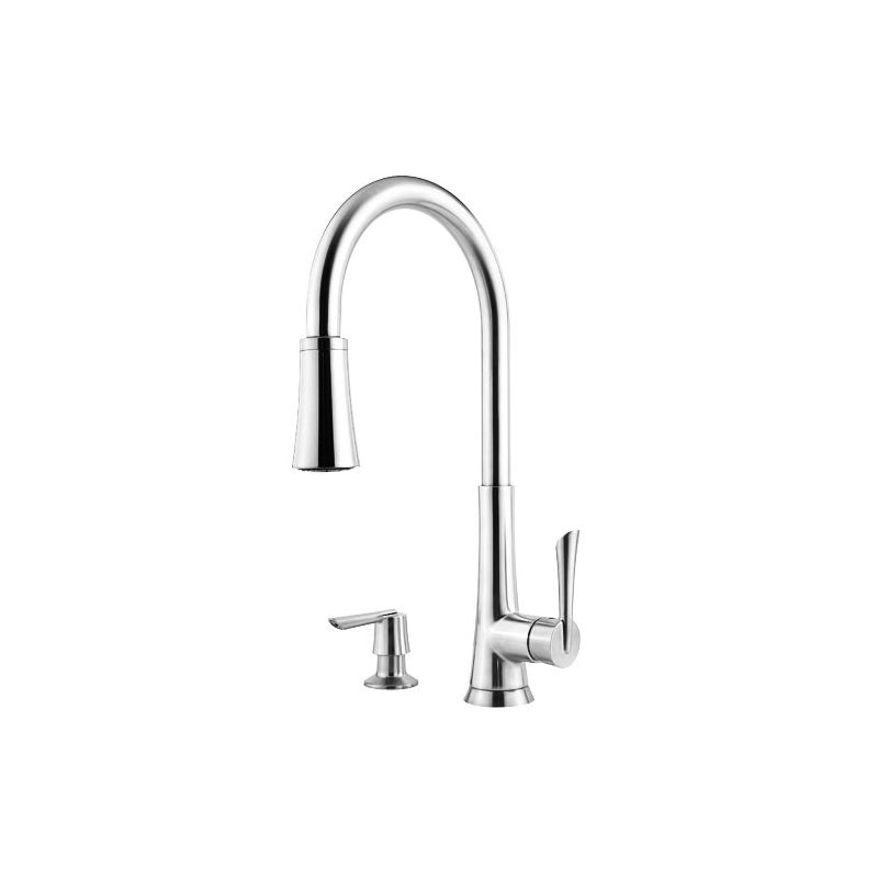 Pfister Gt529 Mdc Polished Chrome Mystique 3 Function Pullout Spray High Arc Kitchen Faucet With
