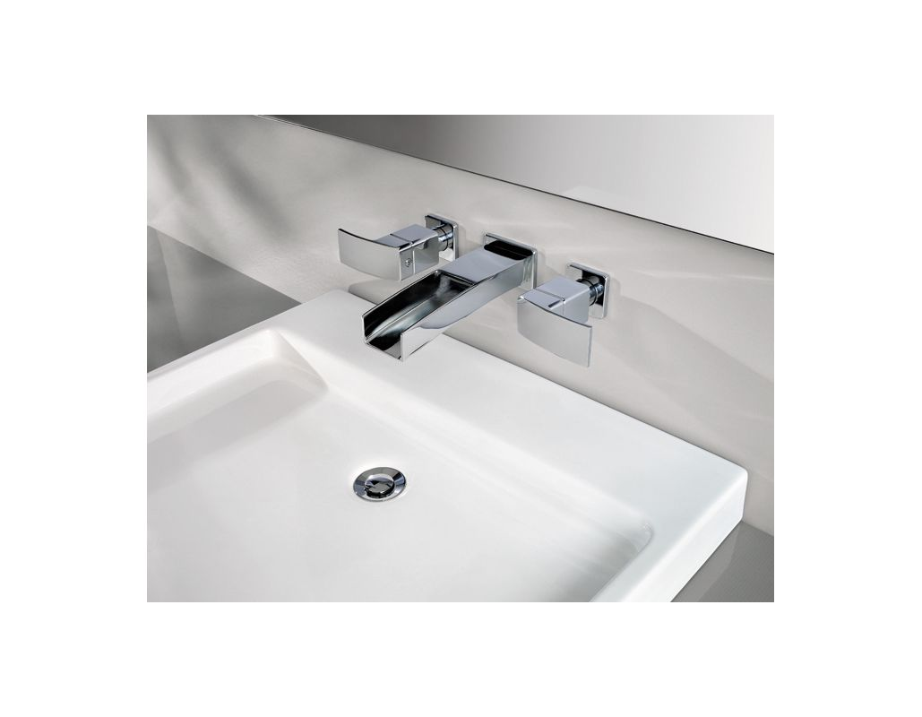 Brushed Nickel Faucet Waterfall Bathroom Spout Sink One: T49-DF1K In Brushed Nickel By Pfister