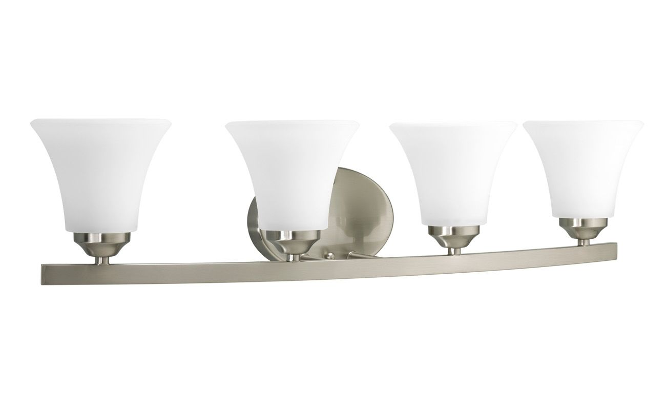 Progress Lighting Lucky Collection 4 Light Brushed Nickel: Progress Lighting P2011-09 Brushed Nickel Adorn 4 Light 28