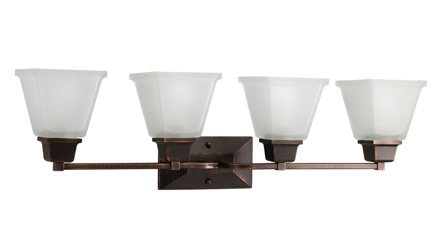 Progress Lighting P2745-74 Venetian Bronze North Park 4 Light Bathroom Vanity Light with Square ...