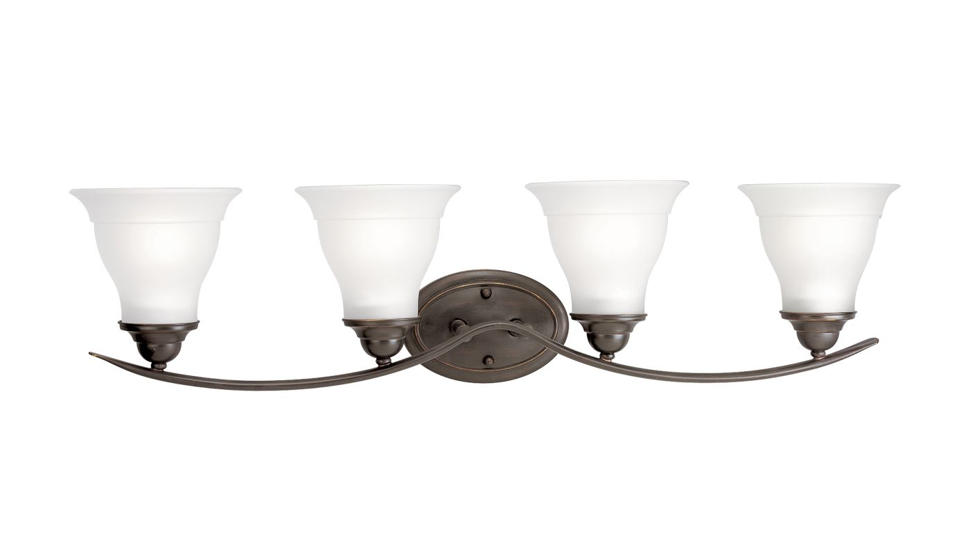 Progress Lighting Lucky Collection 4 Light Brushed Nickel: Progress Lighting P3193-20 Antique Bronze Trinity 4 Light