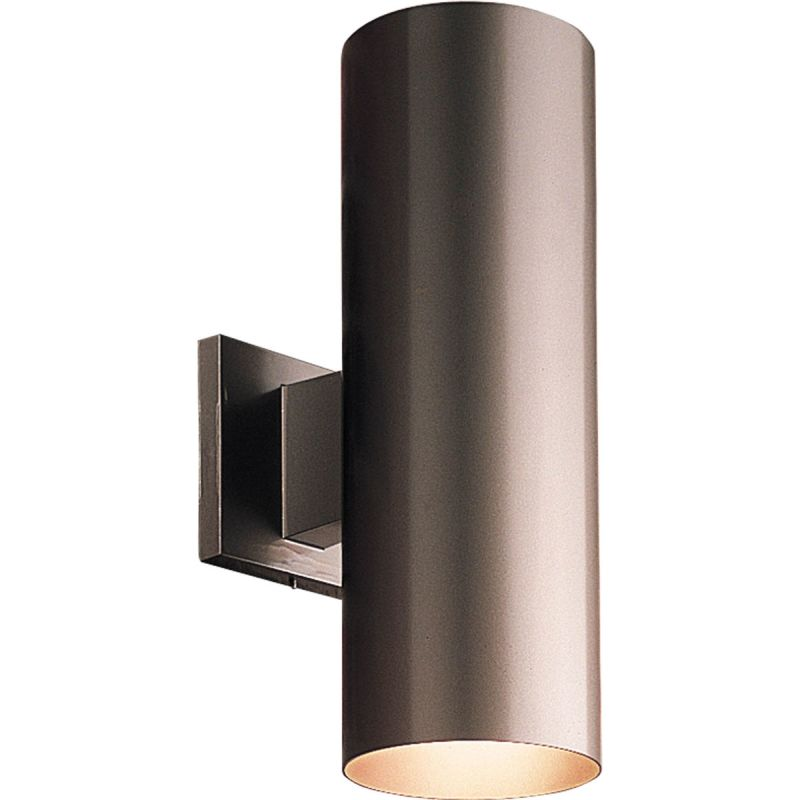 Metal Outdoor Wall Lights : Progress Lighting P5675-20 Antique Bronze Cylinder 2 Light Outdoor Wall Sconce with Metal ...