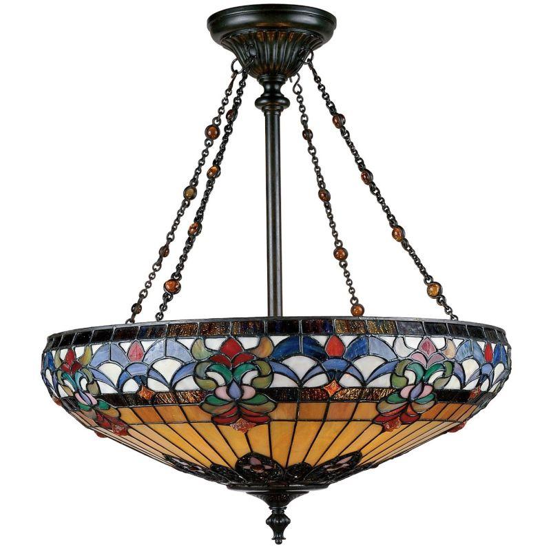 Quoizel tf1781vb vintage bronze belle fleur 4 light bowl for Quoizel belle fleur tiffany 3 light floor lamp