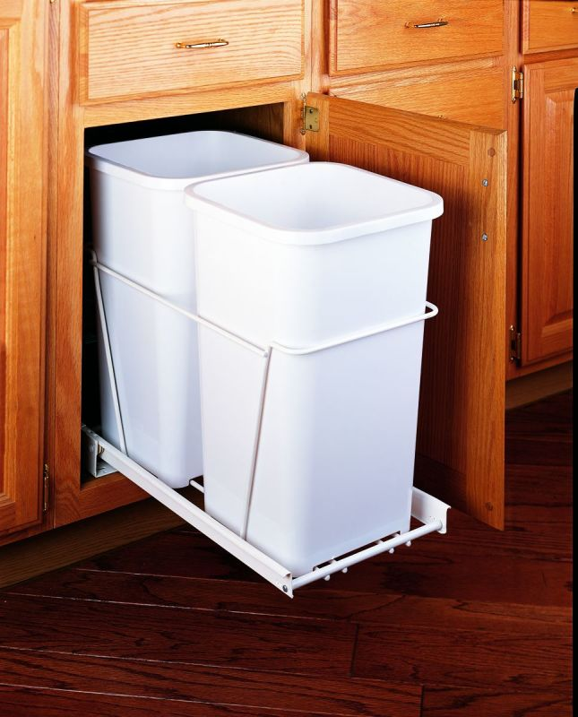 rev a shelf rv 15pb 2 s white rv series bottom mount double bin trash can for 15 base cabinets. Black Bedroom Furniture Sets. Home Design Ideas