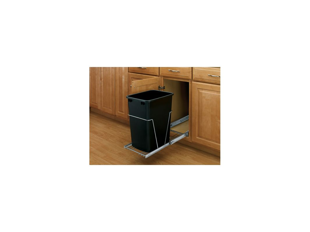 rev a shelf rv 12kd 18c s black rv series bottom mount single bin trash can with full extension. Black Bedroom Furniture Sets. Home Design Ideas