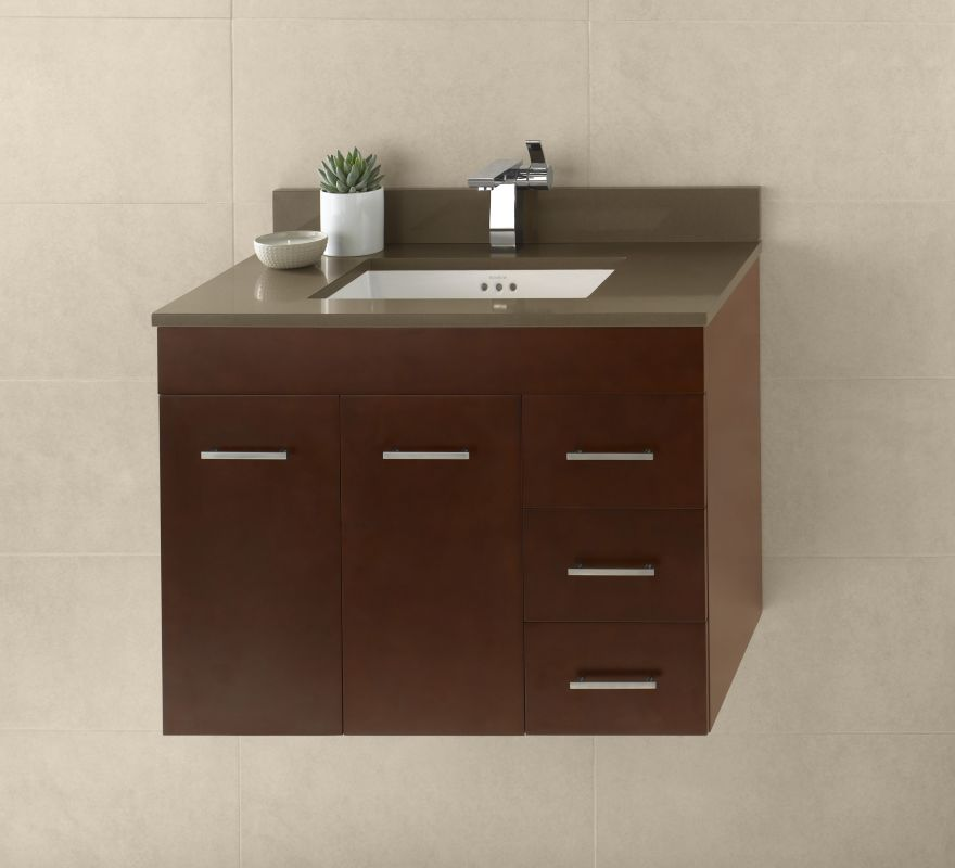 011231 l h01 in dark cherry by ronbow for Wall mounted bathroom vanity cabinet only