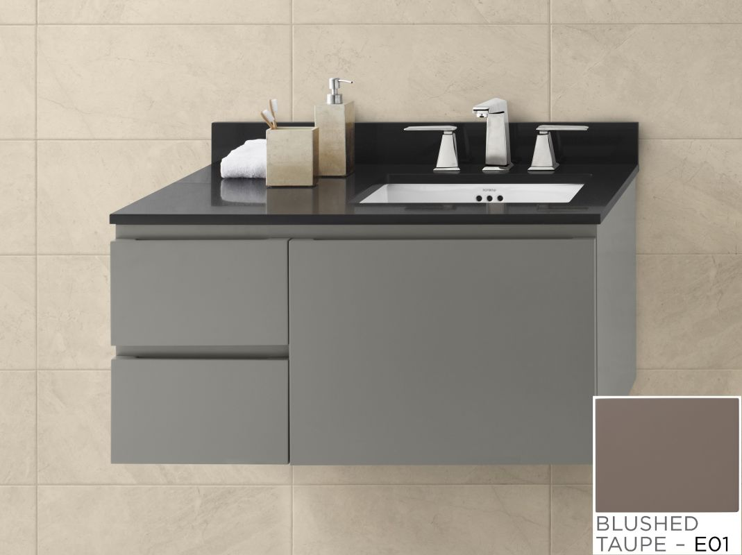 018936 l e01 in blush taupe by ronbow for Wall mounted bathroom vanity cabinet only
