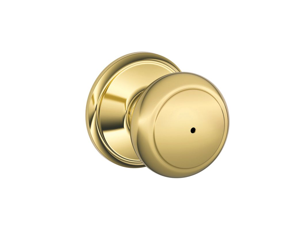 schlage f40and605 polished brass andover privacy door knob set from the f series. Black Bedroom Furniture Sets. Home Design Ideas