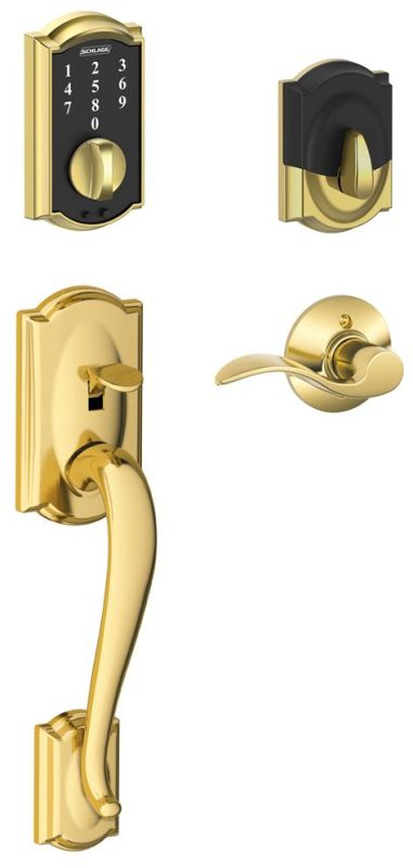 Schlage Fe375cam605acclh Bright Brass Camelot Touch Entry
