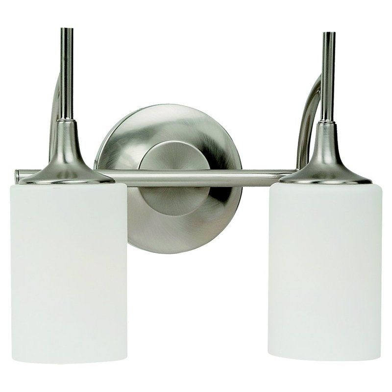 Sea Gull Lighting 44237 962 3 Light Brushed Nickel Bathroom Vanity Wall Fixture: Sea Gull Lighting 44953-962 Brushed Nickel Stirling 2 Light Bathroom Vanity Light