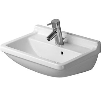 wall mounted bathroom sink with single faucet hole and overflow