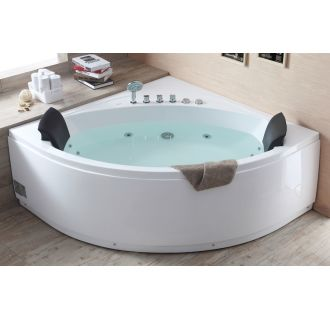 Eago am200 white 84 acrylic whirlpool tub for corner for Walk in tub water capacity