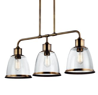 Feiss f3019 3agb aged brass hobson 3 light 1 tier linear for Luminaire exterieur retro
