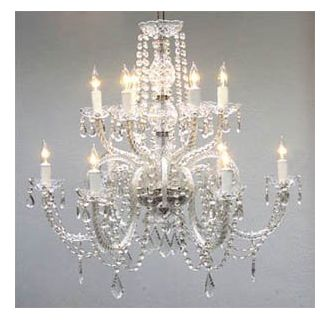 Gallery T40 409 Clear 12 Light 2 Tier Crystal Candle Style