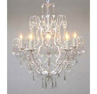 Gallery T40 422 White Wrought Iron 5 Light 1 Tier Crystal