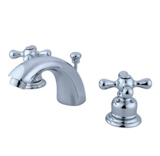 Kingston brass gkb941ax polished chrome victorian mini widespread bathroom faucet with pop up for Victorian widespread bathroom faucet cross handles
