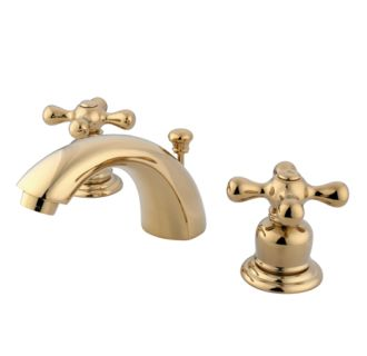Kingston brass gkb942ax polished brass victorian mini widespread bathroom faucet with pop up for Victorian widespread bathroom faucet cross handles