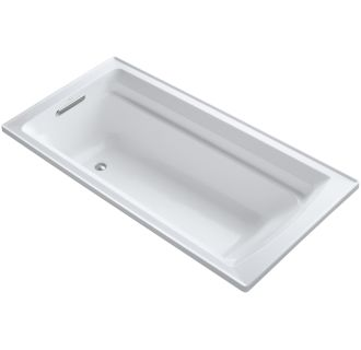 Kohler K 1125 0 White Archer Collection 72 Drop In Soaker Bath Tub With Slotted Overflow
