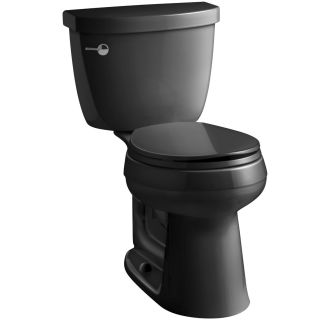 kohler k 3887 7 black black cimarron gpf two piece round comfort height toilet with. Black Bedroom Furniture Sets. Home Design Ideas