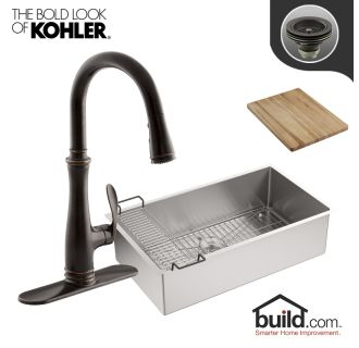 K 5285 k 560 2bz in oil rubbed bronze faucet for Oiled bronze faucet with stainless steel sink