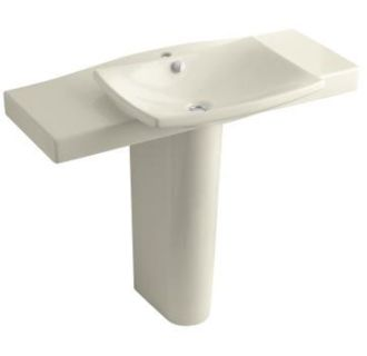 Kohler K 18691 1 47 Almond Escale Pedestal Lavatory With Single Hole Faucet D