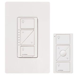 lutron p pkg1w wh r white caseta wireless 150 watt multi location in wall dimmer kit with pico. Black Bedroom Furniture Sets. Home Design Ideas
