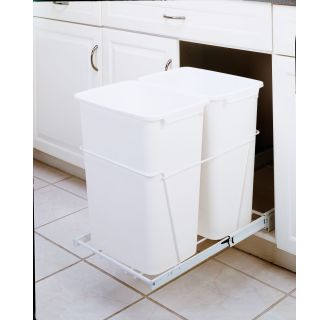 rev a shelf rv 18pb 2 s white rv series bottom mount double bin trash can for 18 base cabinets. Black Bedroom Furniture Sets. Home Design Ideas