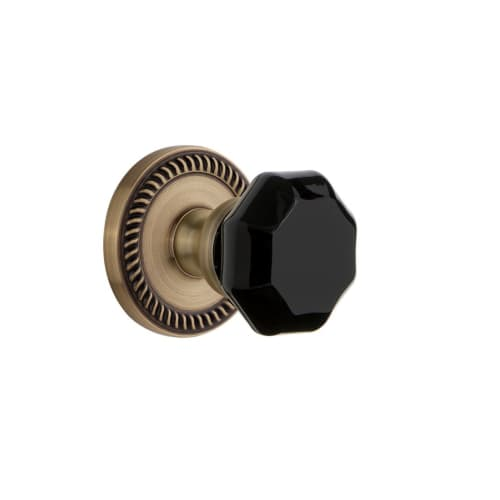 Grandeur NEWLYO_SD_NA Newport Solid Brass Rose Single Dummy Door Knob with Lyon