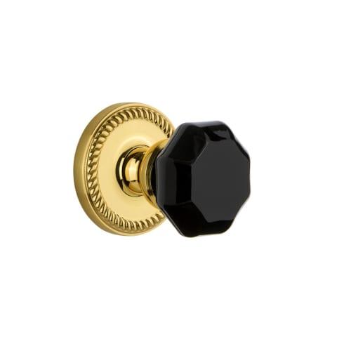 Grandeur NEWLYO_DD_NA Newport Solid Brass Rose Dummy Door Knob Set with Lyon Bla