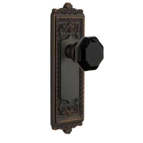Grandeur WINLYO_DD_NA Windsor Solid Brass Rose Dummy Door Knob Set with Lyon Bla